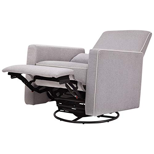 DaVinci Piper Upholstered Recliner and Swivel Glider, Grey with Cream Piping