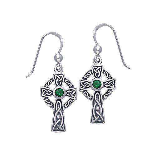 Jewelry Trends Sterling Silver Celtic Cross Dangle Earrings with Dark Green Glass