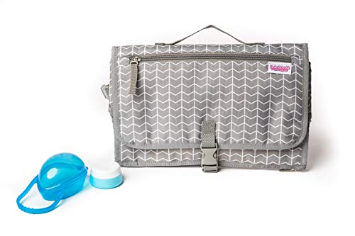 Easy to Clean Portable Diaper Changing Pad w/Head Pillow   Great for On The Go as a Travel Diaper Change Pad   Comes with Binky Case & Baby Cream Jar Grey Chevron Portable Changing Pad for Diaper Bag