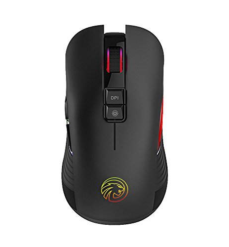 (TENMOS M600 Rechargeable Wireless Gaming Mouse Optical LED 2.4GHz Computer Mouse with Nano USB Receiver, Silent Click, 3 Adjustable DPI, 7 Buttons Compatible with PC/Laptop/Notebook (Black))