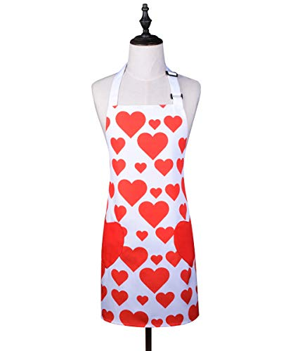 Love Potato Cute Adjustable Bib Apron Hearts Canvas Apron Chef Kitchen Cooking Pinafore with Pockets Great Gift for Women Girls, Red