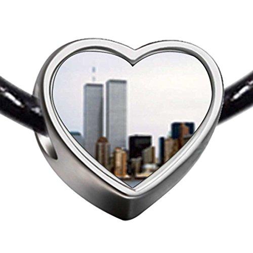 GiftJewelryShop Silver Plated New York Twin Towers Photo Heart Charm Beads Bracelets European Bracelets