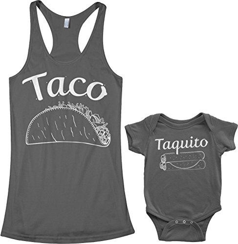 Threadrock Taco & Taquito Infant Bodysuit & Women's Racerback Tank Set (Baby: 6M, Charcoal|Women's: L, Charcoal)