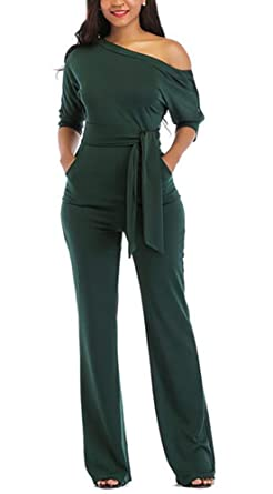 0f2bc4261a4 Womens One Off Shoulder Jumpsuit Slit Sleeve Wide Leg Long Pants Outfits  Romper with Belt