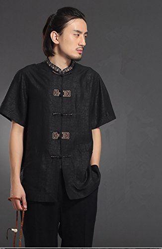 High-end Business Shirts Men's shirt Tang Costume Tang Suit Retra Shirt Chinese National Style Mulberry Silk by LUOLAN-Tang Sui (Image #2)
