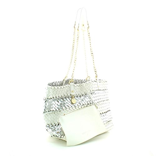 Pelle PATRIZIA Tote sintetica Donna Borsa shiny PEPE bag white shopping vrXnwvTq