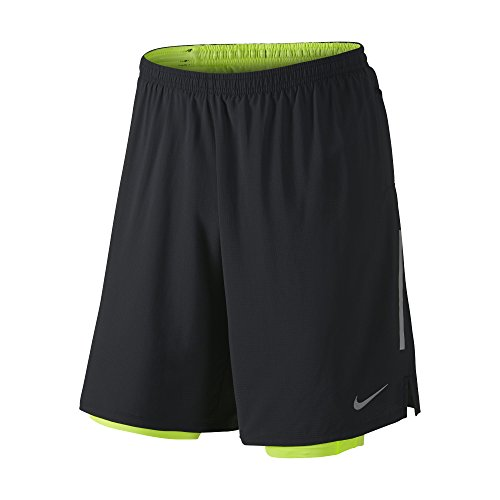 "Price comparison product image Men's Nike 9"" Phenom 2-in-1 Running Shorts Black/Volt 683283-010 (L)"