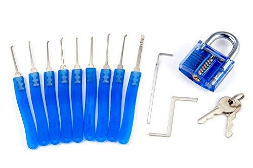 CARI praktisches Lockpicking Set / Schlossknacker Set / Dietrich Set mit den 11 wichtigsten Werkzeugen, inklusive transparentem Vorhängeschloss zum Üben. Plus Anleitung und Extra Video Tutorial