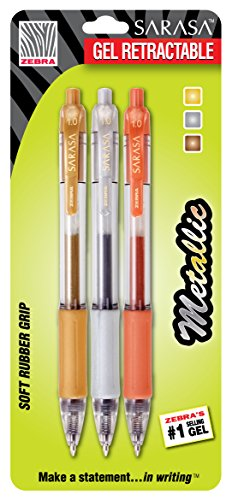 Zebra Sarasa Retractable Gel Ink Pens, Bold Point 1.0mm, Assorted Metallic Colors, 3-Count