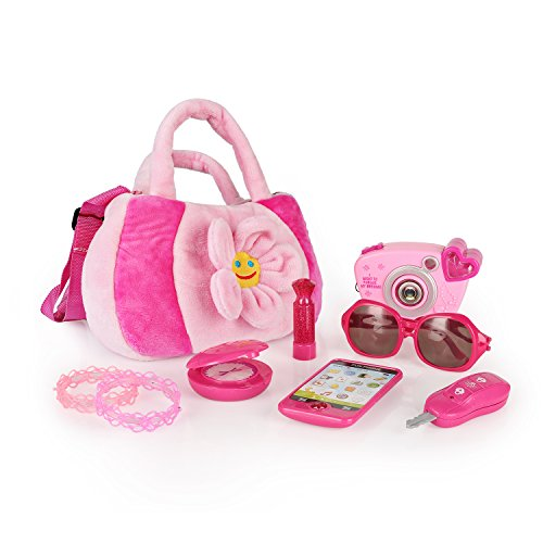 SainSmart Jr. Toddler Purse My First Purse Pretend Play Set 9 PCS, Pretty Role Play for Girls, Educational Pretend Toy for Preschoolers (Play Purse)