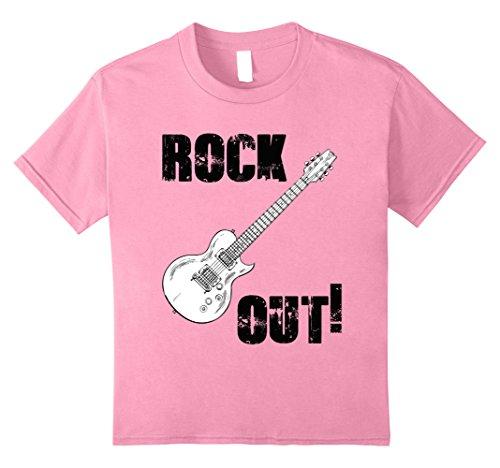 Kids Rock Out Guitar Pick Strings Band T-shirt Kids Boys Girls 10 Pink (Rock Girls Guitar Picks)