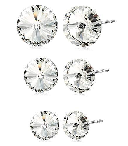 (Kesaplan 3 Pairs Crystals Stud Earrings Set, Crystals from Swarovski, 6/8/10MM Round-Cut Crystals Earrings with Steling Silver Post, Hypoallergenic Earrings )