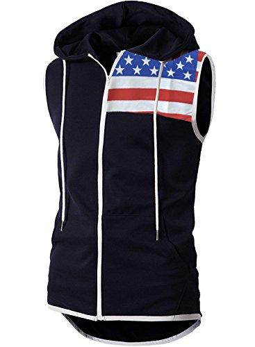 BigRabbit® Men's Sleeveless Workout Hoodie Zip-up Vests Gym Bodybuilding Lifting Tank Tops(S,Fblack)
