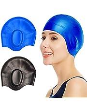 2 Pcs Swim Caps Cover Ears, Durable Silicone Non-Slip Waterproof Swimming Caps for Women Men, 3D Ergonomic Design Pool Hats Fit for Long Short Hair, Adults, Older Kids, Boys and Girls - Blue & Black
