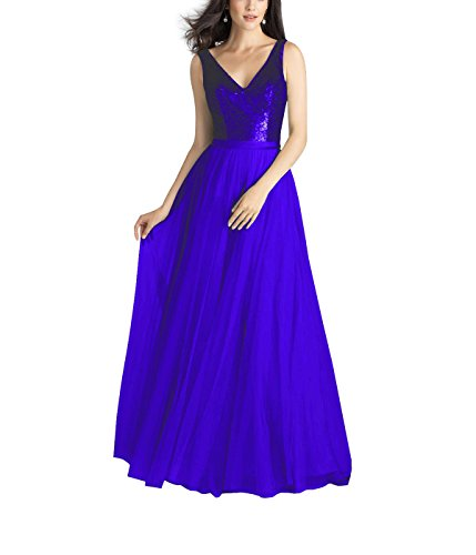 Evening Prom Royal Dress Maxi Beauty Bridal Bridesmaid Blue Sequin Sleeveless Women's Banquet xZgwq80w