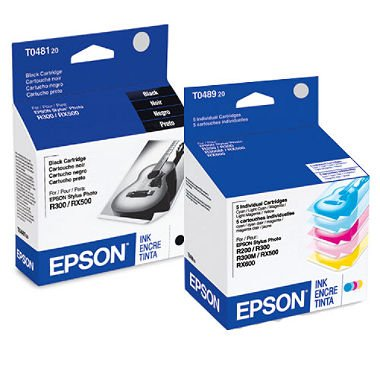 Epson 6 Pack Ink Cartridges (Big Value) for Stylus Photo Printers: R200, R220, R300, R320, R340, RX500, RX600, RX620