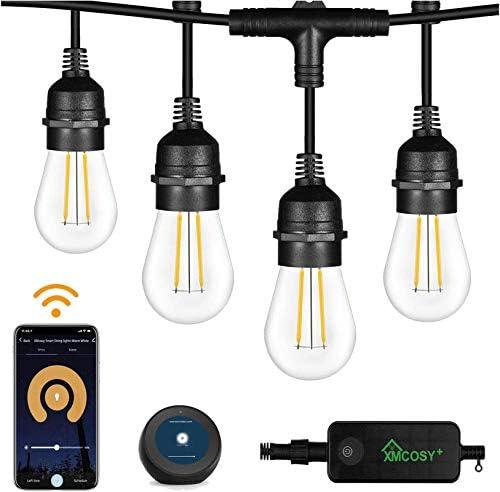 Outdoor String Lights 2 Pack – 49x2 Ft LED Patio Lights, Smart White String Lights via 2.4G Wi-Fi App & Alexa, 15x2 Bulbs Dimmable Patio String Lights Outdoor, Waterproof & Shockproof LED String Lights