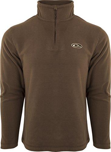 - Drake Camp Fleece  Chocolate Pullover 1/4 Zip, Large
