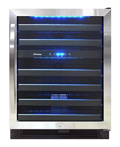 Vinotemp VNTVT-46-2Z-SBB 46-Bottle Dual-Zone Wine Cooler, Black/Stainless Steel