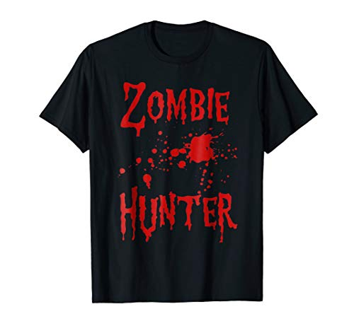 Zombie Hunter T-Shirt Halloween Costume Blood Splatter -