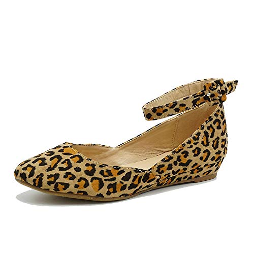 (Women's Ballet Flat Pointed Toe Buckled Strap Flat Ankle Strap Shoes Leopard 8.5)