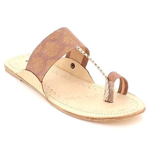 Melocotón Casual Zapatos Dedo Del Ponerse Pie Tamaño Chappal Kolhapuri Abierto Mujer Plano Comodidad Sandalias Señoras Auténtico ZqqT8
