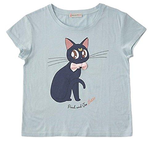 GK-O Sailor Moon Luna Cat Print T-Shirt with 3D Ribbon Cute Kawaii Cosplay Japan Anime (Blue) -