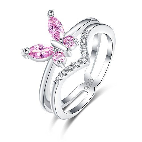 Veunora Ladies' 925 Sterling Silver Created Pink Topaz Filled Butterfly Wavy Ring