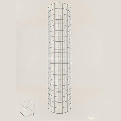 Säule Steinkorb-Gabione rund, Maschenweite 5 x 10 cm, Höhe 160 cm, Spiralverschluss, galvanisch verzinkt (52 cm Durchmesser)