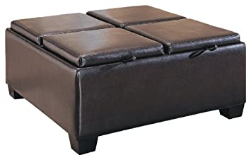 Homelegance Contemporary Storage Ottoman With Four Flip Top Tray Inserts,  Faux Dark Brown Leather