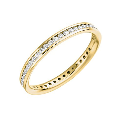 2,5 mm 0,75 Carat F/SI diamants ronds Canal de Full Eternity Bague en or jaune