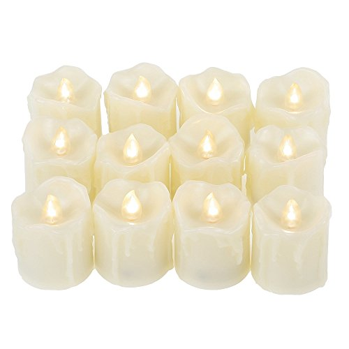 """Qidea Battery Operated Flameless LED Votive Candles with Timer Drips Flickering Electric Decorative Decor Candle Lights for Xmas Christmas Wedding Party, 1.7""""x2"""",12-Pack, Batteries ()"""