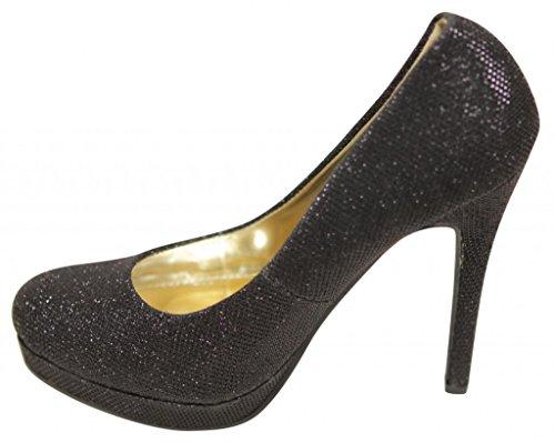 Bella Marie Tamika-1 Donna Classica Piattaforma Professionale In Pelle Glitter Con Tacco A Spillo Pompa Nero