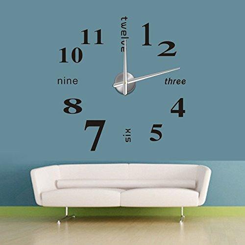 DIY Black Large 3D Home Decorative EVA Sticker Creative Wall Clock