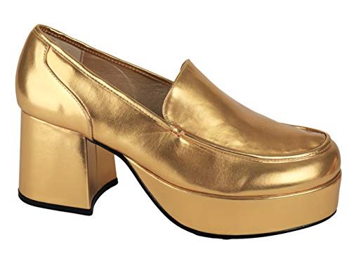 Disco 1960s 1970s Groovy Mens Platform Shoes l Gold for $<!--$89.99-->
