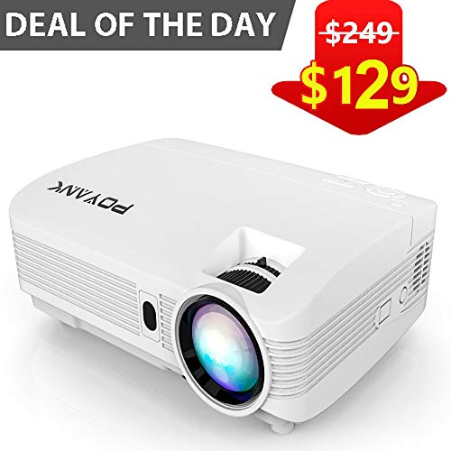 POYANK WXGA 3600Lumens LCD Projector Full HD 1080P Support, Native 720P Compatible with HDMI, USB, SD/TF Card, AV, TV Box, 200 Large Display for Home Entertainment, PPT Presentations (White)