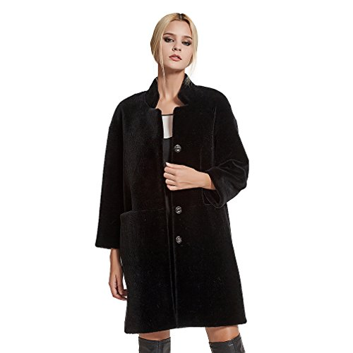 Fur Story Women's Lamb Shearing Fur Coat Warm Solid Winter Coat 3/4 Sleeve Stand up Collar US8 (Black)