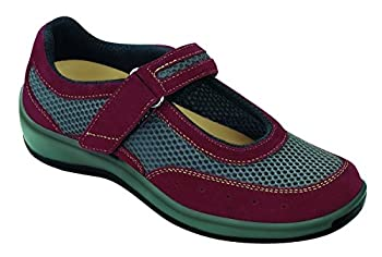 Orthofeet 859 Women's Comfort Diabetic Therapeutic Extra Depth Shoe Red 5 Wide (D) Velcro