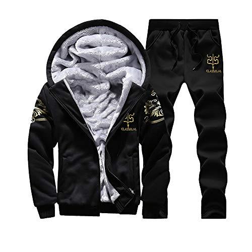Mens Jacket Godathe Mens Hoodie Winter Warm Fleece Zipper Sweater Jacket Outwear Coat Top Pants Sets M-XXXXL (Top Pants Coat)