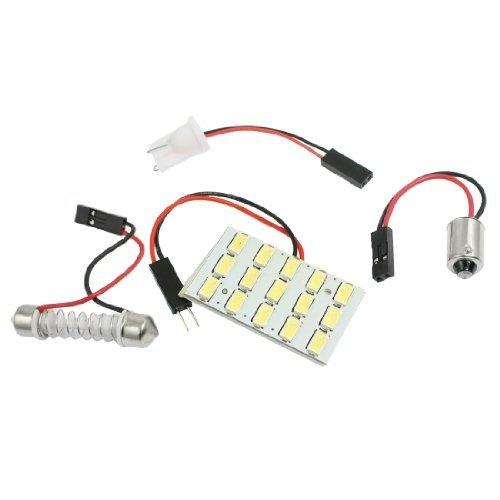 38 Carte 1 Light - eDealMax voiture Blanc 15 5630 SMD Ampoule LED Dôme Lampe w T10 BA9S feston adaptateur