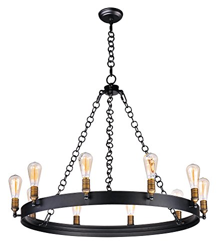 Maxim 26275BKNAB Noble 10-Light Chandelier, Black / Natural Aged Brass Finish, Glass, MB Incandescent Incandescent Bulb , 9W Max., Wet Safety Rating, Shade Material, 800 Rated Lumens