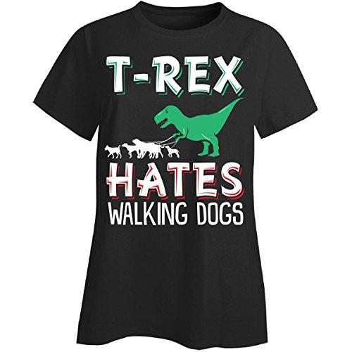 Penguin Walking T-shirt (T-rex Hates Walking Dogs - Ladies T-shirt Ladies 3xl Black)