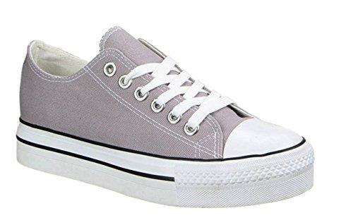 King Of Shoes Damen Sneakers Freizeit Turnschuhe Low Top Schuhe Grau