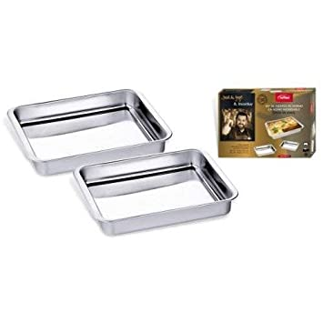 SET RUSTIDERAS HORNO RECTANGULAR INOX 30 Y 35 CM: Amazon.es ...