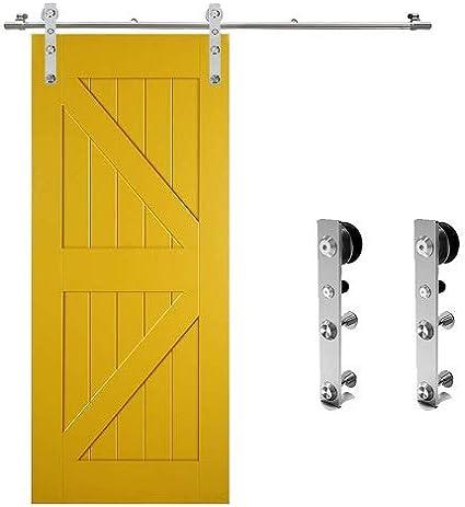 CCJH 183CM/6FT Herraje para Puerta Corredera Acero Inoxidable Kit de Accesorios, Guia Riel Puertas Correderas, Forma L