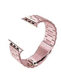 Navor Stainless Steel Metal Band Bracelet for Apple Watch 42mm with Folding Clasps for Series 1-2-Rose Gold