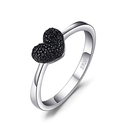 JewelryPalace 0.14ct Genuine Spinel Love Heart Ring 925 Sterling Silver Size (Silver Spinel Ring)