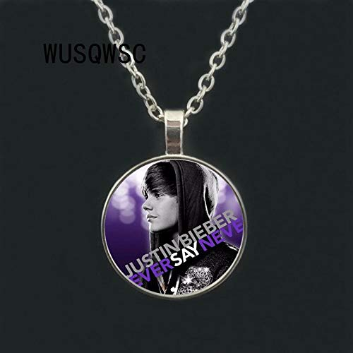 Men's necklace Round Star Bright Jewelry Justin Bieber Necklace 2019 New Favorite Star Pendant Trendy Chains Glass Photo ()