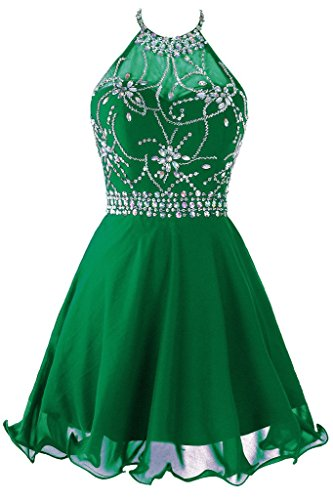 - Topdress Women's Short Beaded Prom Dress Halter Homecoming Dress Backless Green US 6