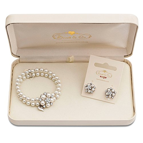 (Lovett & Co Ltd Audrey Hepburn Glass Pearl Stud Earring & Audrey Hepburn Glass Pearl Stretch Bracelet (Cream) with Gift Box)